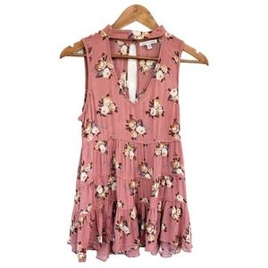 AEO Mauve Floral Tank Size Small